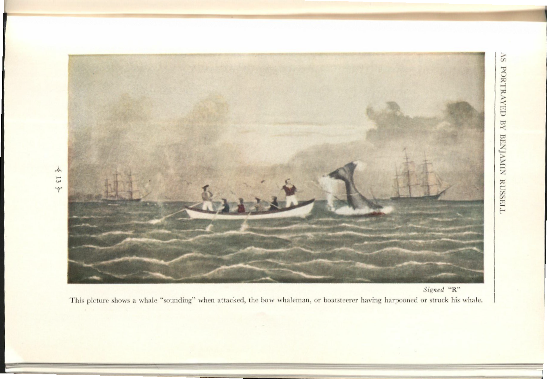 Illustration in book of men rowing on a small boat as a whale attacks them